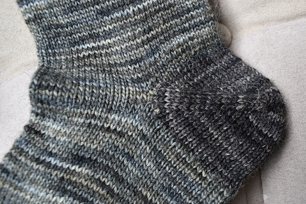 brown striped sock heel detail photo