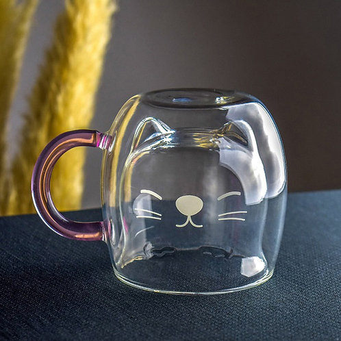 Cute  Cat  Double Walled Glass Cup for wine or coffee