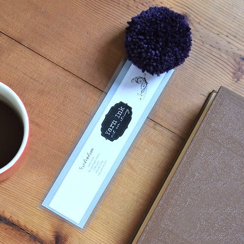 Handmade Yarn Label Bookmark with Purple Pom Pom