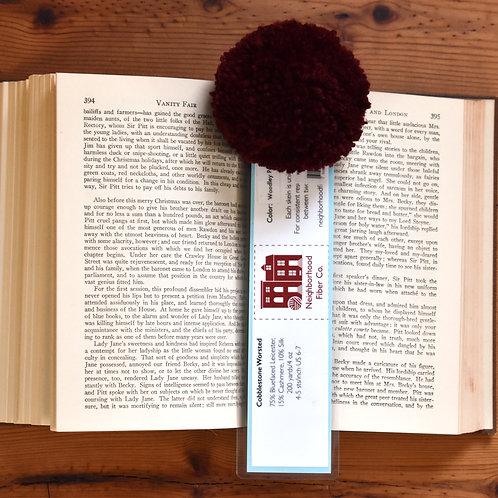 Handmade Yarn Label Bookmark with XL Burgundy Pom Pom