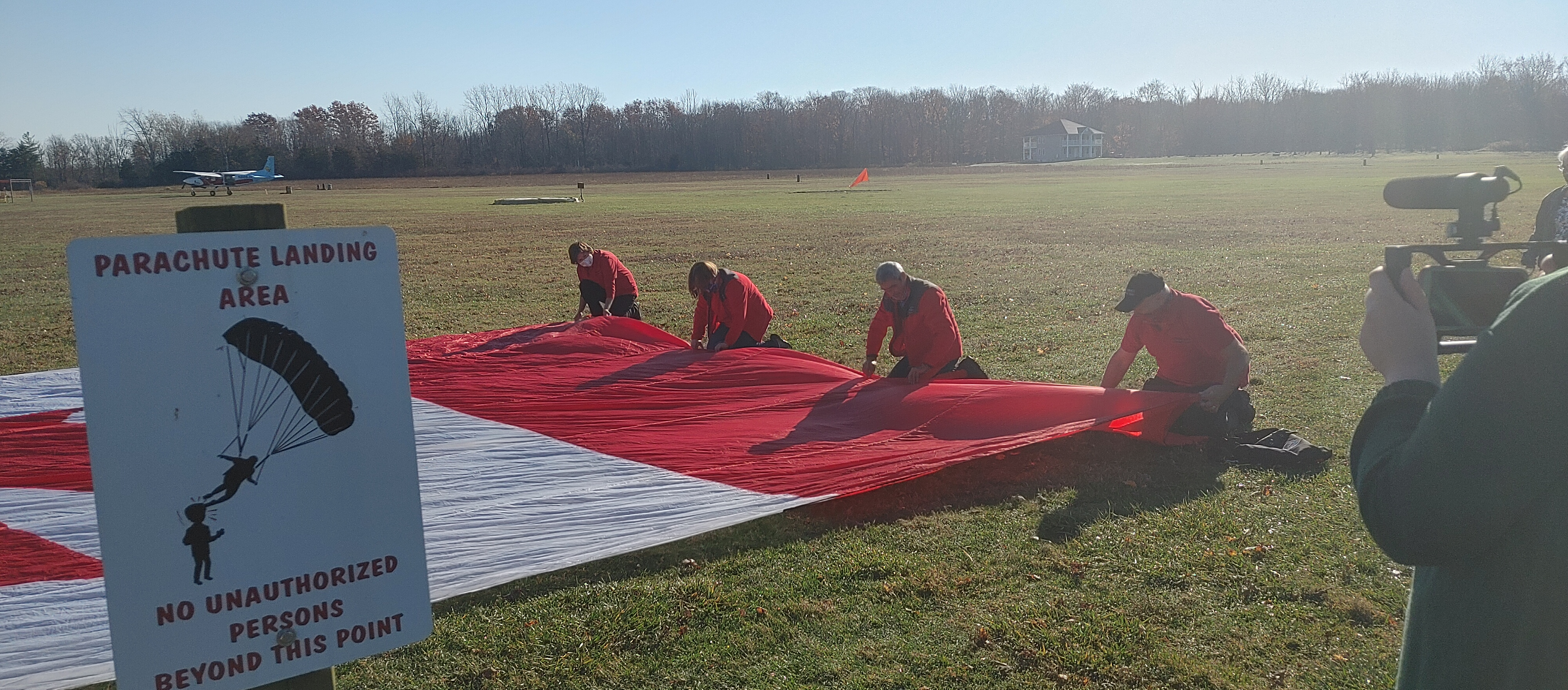 Folding the Cdn Flag Banner for jump