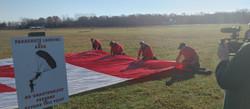 Folding the Cdn Flag Banner for jump