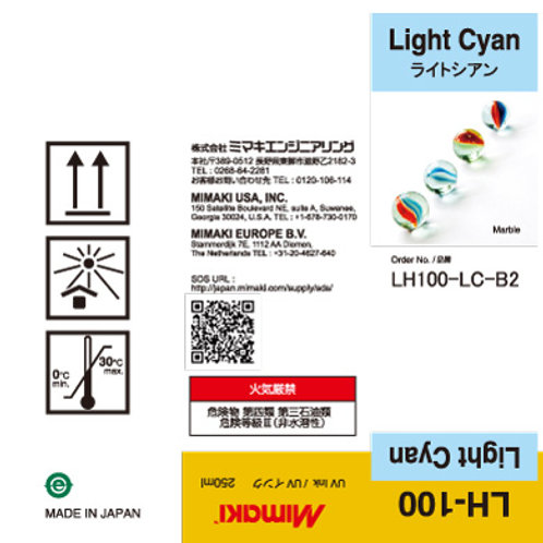 LH-100 UV curable ink 250ml bottle Light Cyan