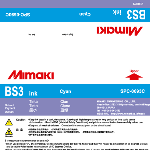 BS3 Solvent ink pack Cyan