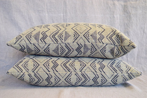 Handwoven neutral symbols 2 cushions