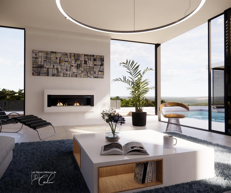 Le salon très design de la maison (en journée)