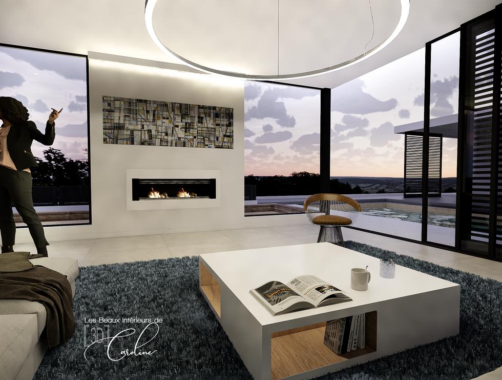 Le salon très design de la maison (en soirée)