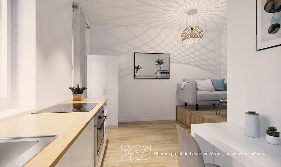 Visuel 3D d'un studio avec un lit escamotable