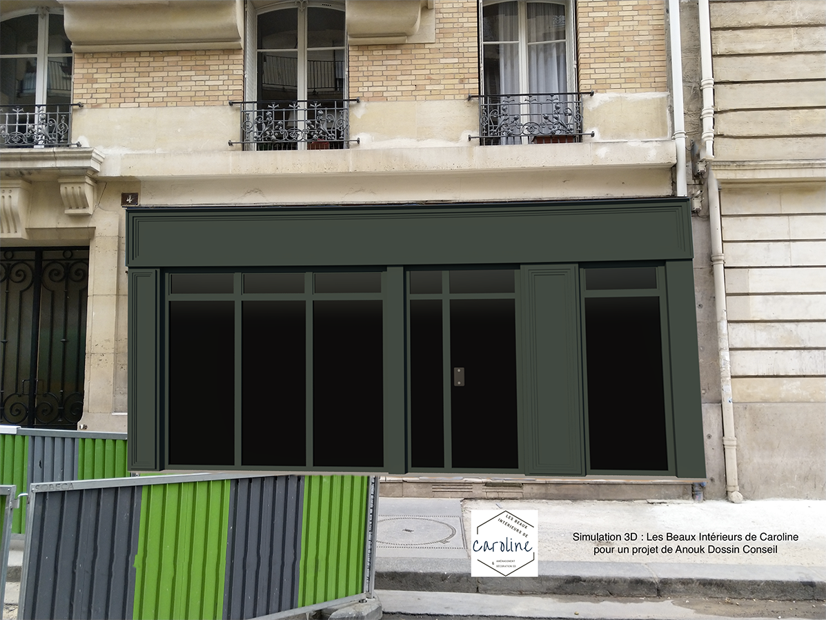 SIMULATION 3D n°1 : une façade vitrée verte