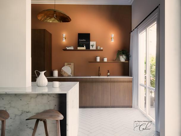 Octobre 2020 - Aménagement virtuel de la cuisine d'un appartement en vente