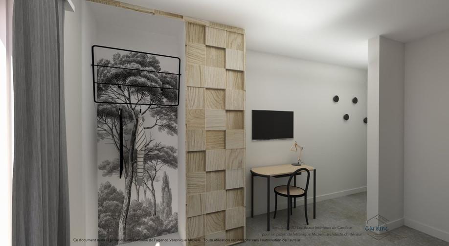 Sous-traitance visuels 3D de la décoration d'une chambre à coucher, chambre d'hôtel à l'esprit exotique avec papier peint panoramique Ananbo noir et blanc, placard sur mesure et panneaux de bois et bureau avec chaise