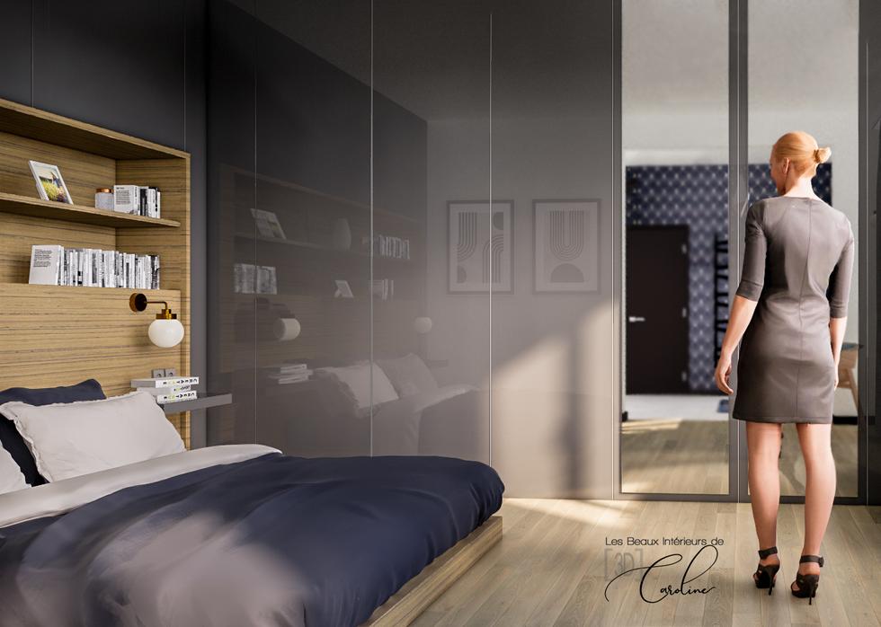 La chambre avec grand dressing et tête de lit avec rangements intégrés