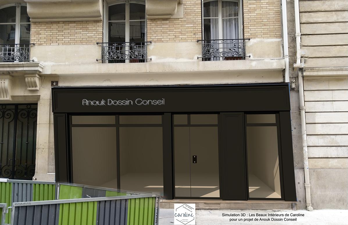 SIMULATION 3D n°2 : une façade vitrée plus légère gris anthracite, la version finalement retenue par la décoratrice