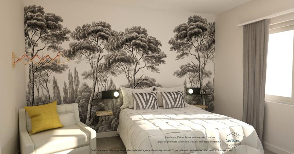 Sous-traitance visuels 3D de la décoration d'une chambre à coucher, chambre d'hôtel à l'esprit exotique avec papier peint panoramique Ananbo noir et blanc, placard sur mesure et coussins graphiques noir et blanc