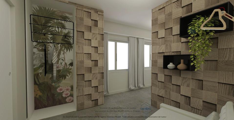Sous-traitance visuels 3D de la décoration d'une chambre à coucher, chambre d'hôtel à l'esprit exotique avec papier peint panoramique Ananbo, placard sur mesure et panneaux en bois