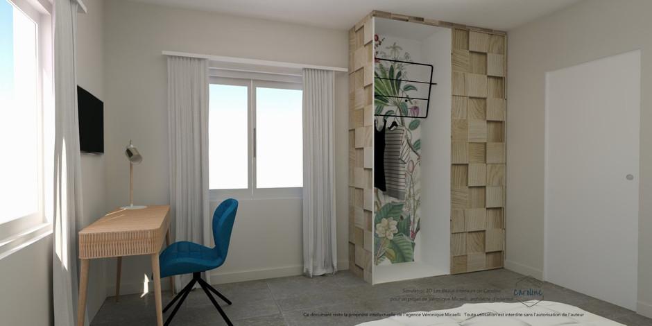 Sous-traitance visuels 3D de la décoration d'une chambre à coucher avec bureau et placard sur mesure, à l'esprit exotique avec papier peint panoramique fleuri Bahamas de Bien Fait, dans les tons bleus,