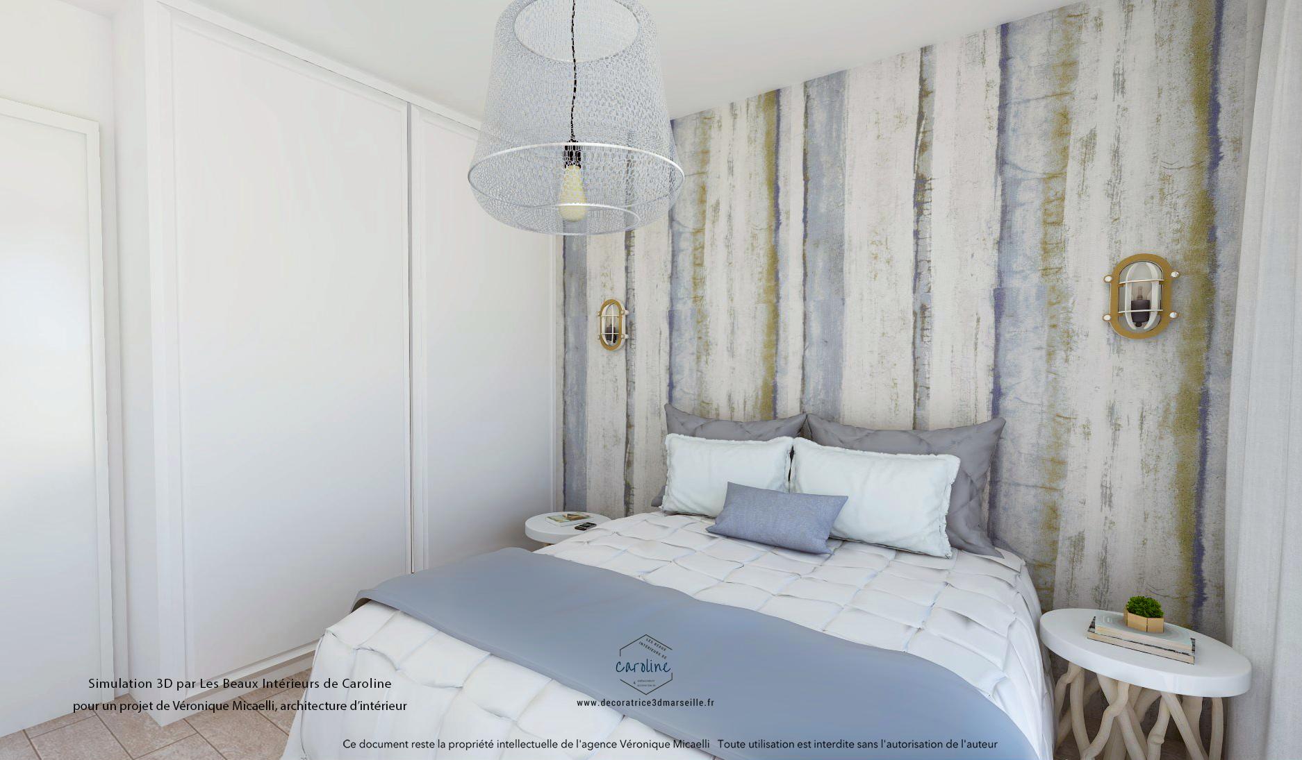 Image 3D d'une chambre aménagée et décorée esprit bord de mer blanche et bleue, tons naturels et matières naturelles, bois, lin et blanc