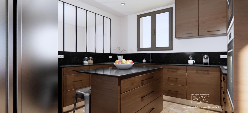 Une cuisine haut de gamme en bois et granit noir