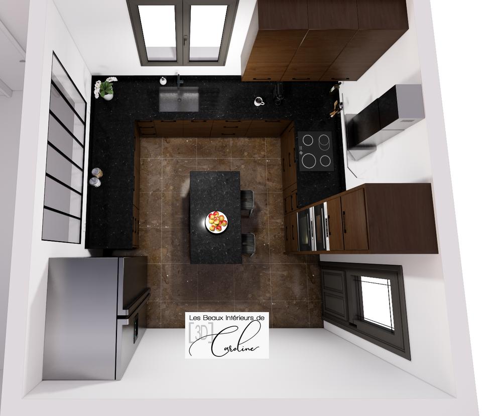 Vue de dessus d'une cuisine moderne et élégante