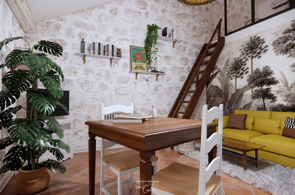 La pièce à vivre d'une maisonnette provençale relookée