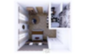 Plan de niveau en 3D pour une sous-traitance, une suite parentale avec salle de bain et dressing