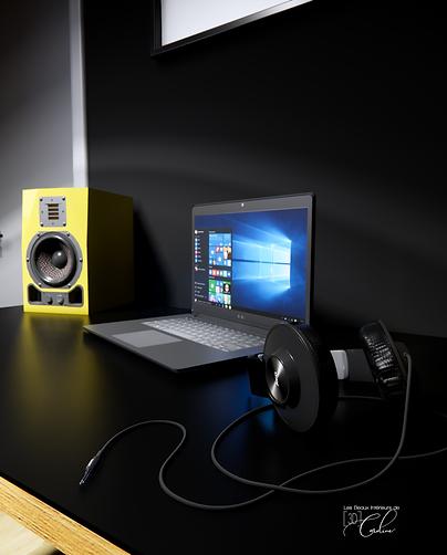 Image 3D d'un bureau de musicien