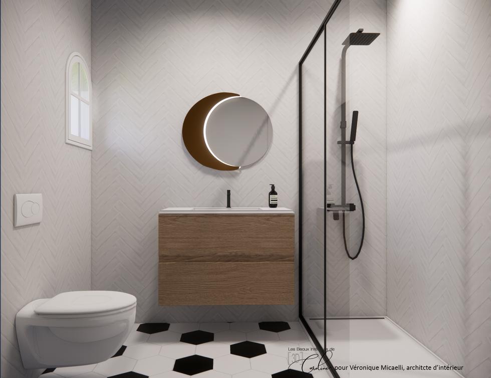 La salle de bain de la chambre à l'entrée