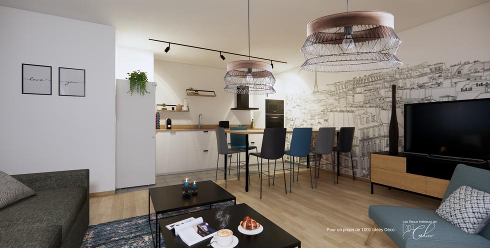 Projet 3D : vue de la cuisine / salle à manger