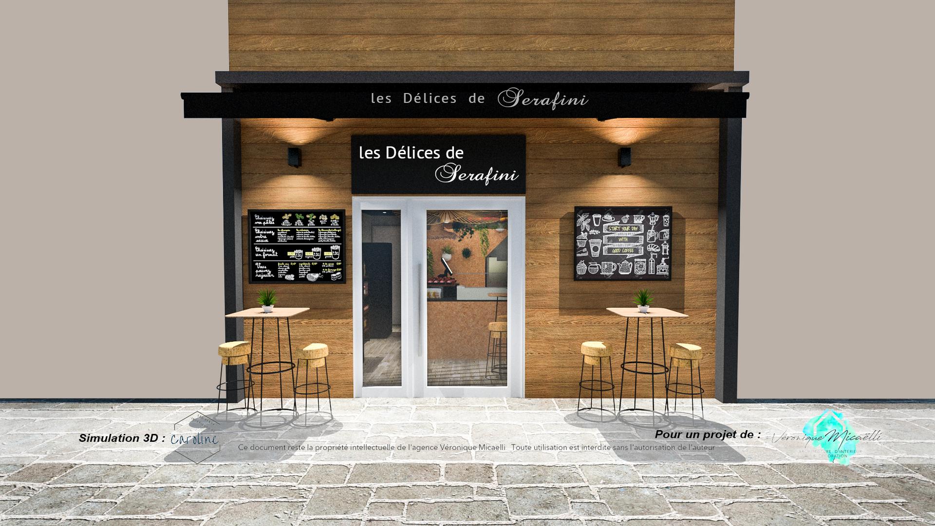 Simulation 3D de la façade du commerce