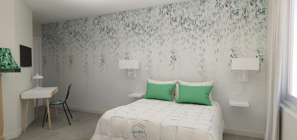 Sous-traitance visuels 3D de la décoration d'une chambre à coucher, chambre d'hôtel à l'esprit exotique avec papier peint panoramique végétal dans les tons verts et blanc avec bureau