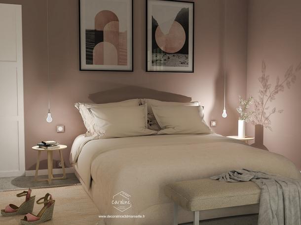 Juillet 2019 - Une chambre en 2 versions : rose poudré ou kaki (cliquez pour découvrir le projet complet)