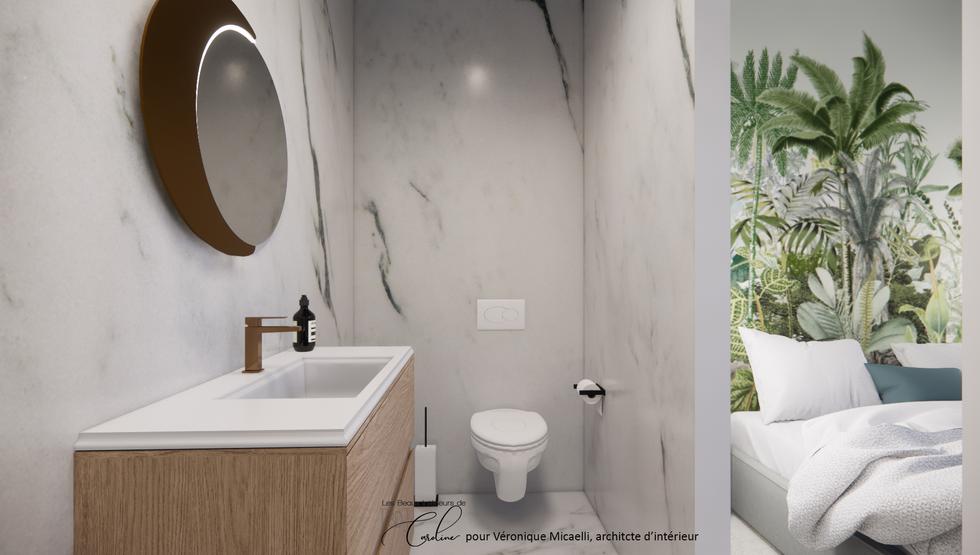 La salle de bain de la chambre verte