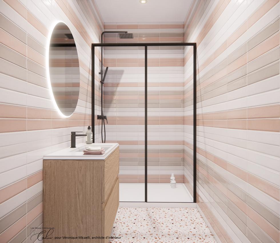La salle de bain de la chambre colorée