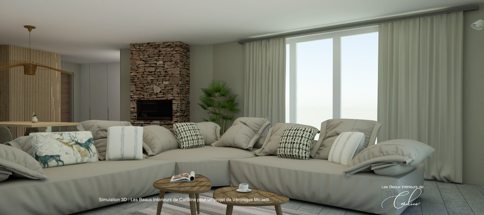 Le grand canapé est la pièce maîtresse de la décoration de ce salon contemporain