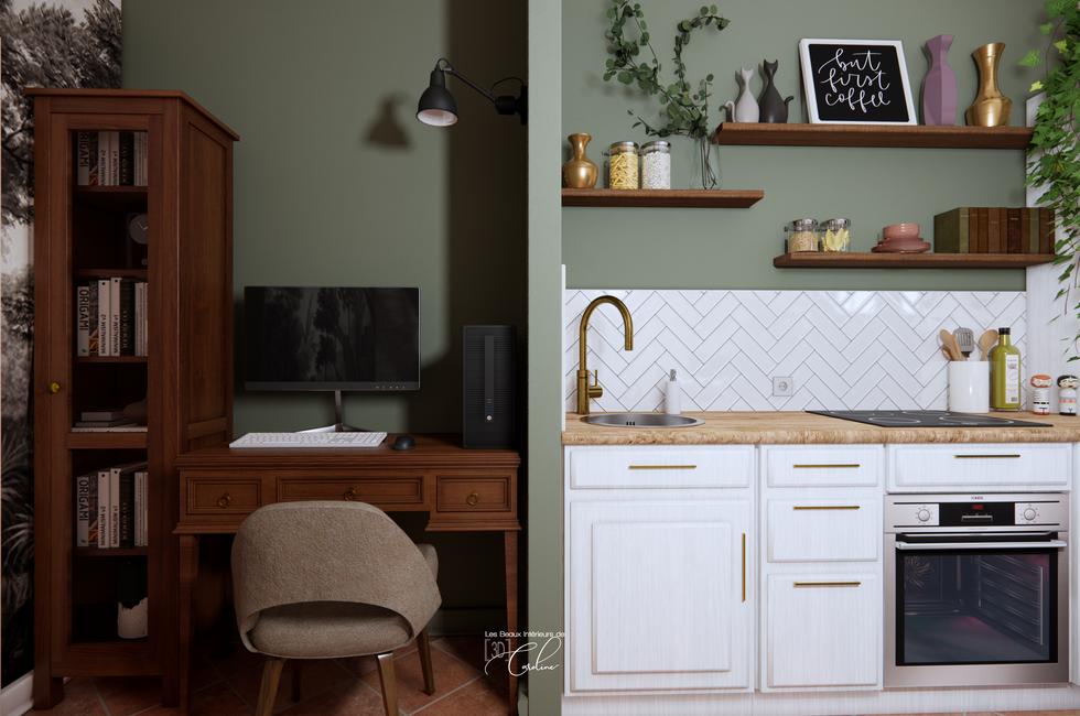 Le bureau et la cuisine