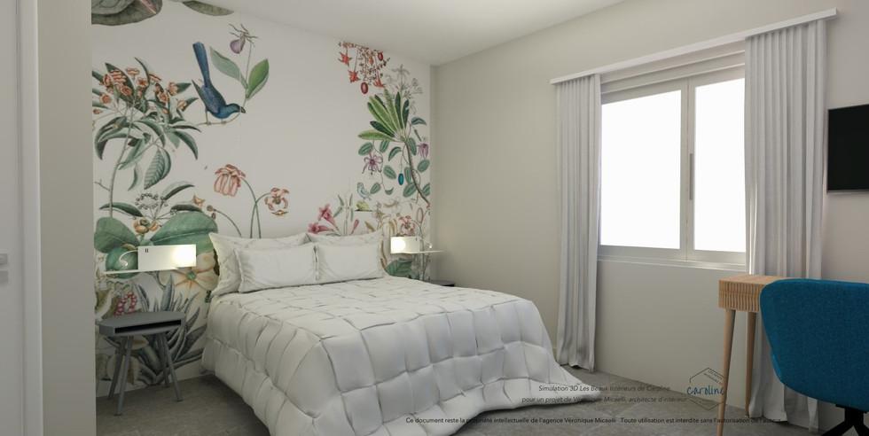 Sous-traitance visuels 3D de la décoration d'une chambre à coucher, chambre d'hôtel à l'esprit exotique avec papier peint panoramique fleuri Bahamas de Bien Fait, dans les tons bleus