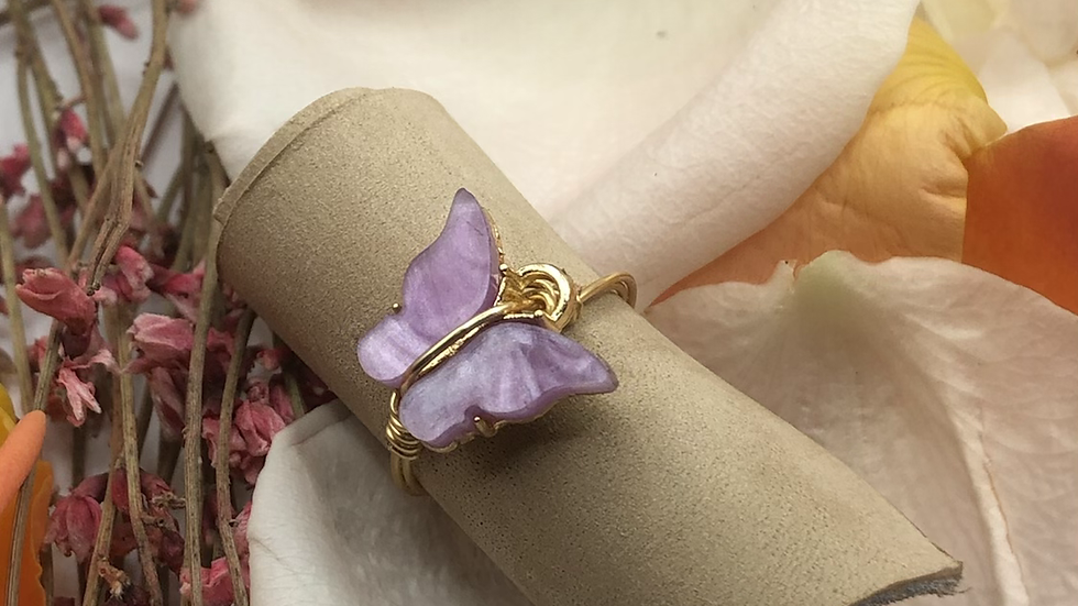 Purple butterfly ring • Request ring size with the purchase