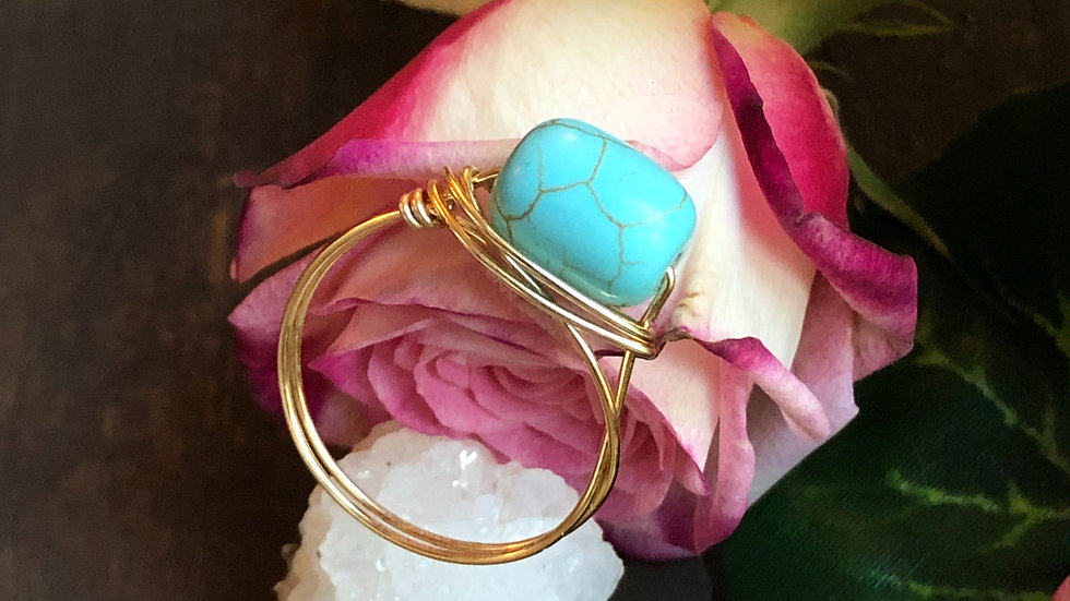 Turquoise wire wrap to ring