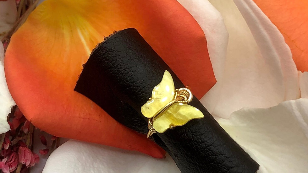 Yellow butterfly ring • Request ring size with the purchase