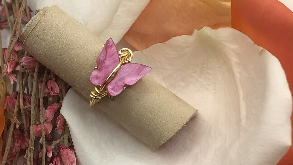 Pink butterfly ring • Request ring size with the purchase