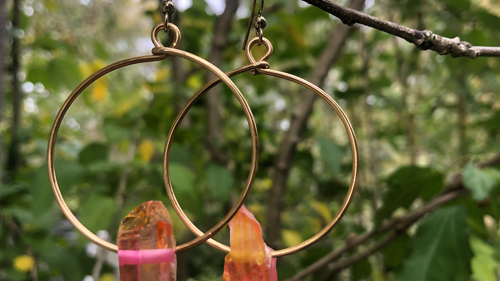 Fire Crystal • Gold hoops
