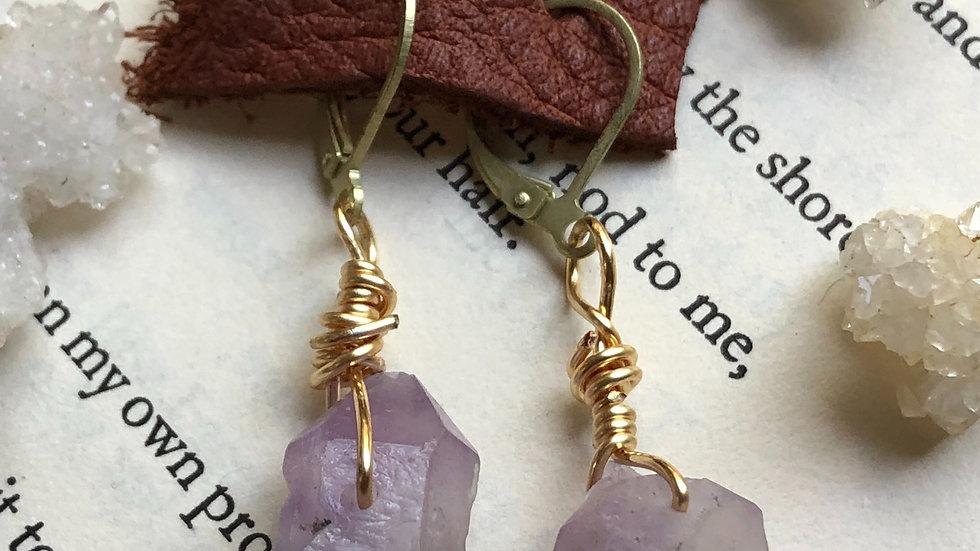 Wire Wrapped Amethyst • Earrings
