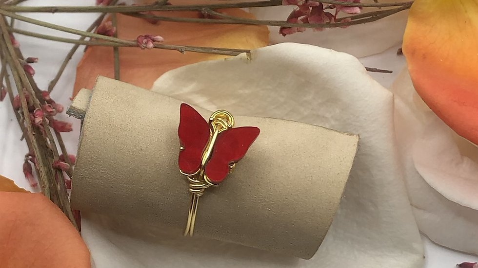 Red butterfly ring • Request ring size with the purchase