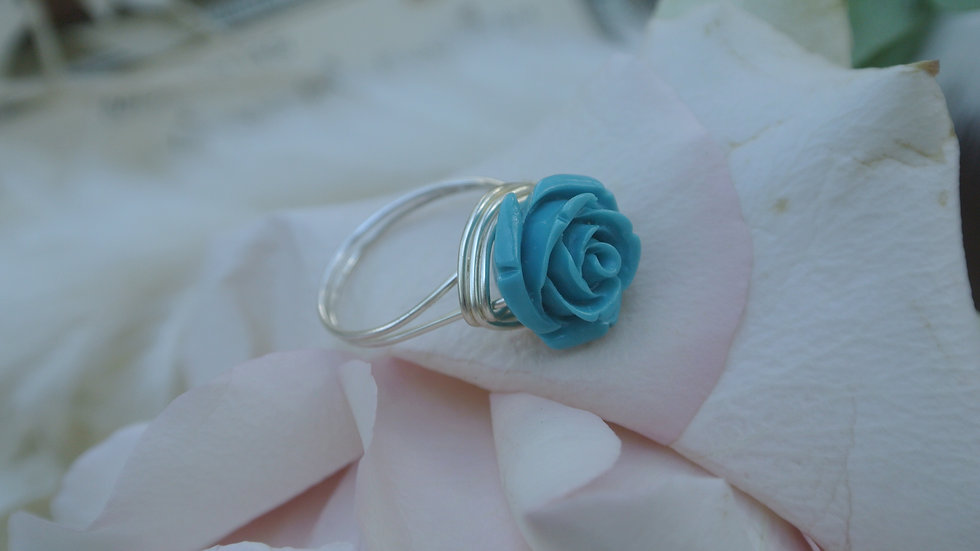 Blue rose ring ~ Request size with purchase
