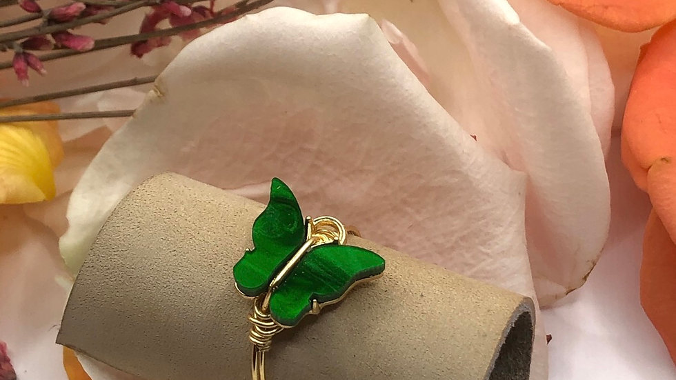 Green butterfly ring • Request ring size with the purchase