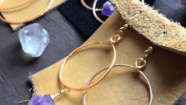 amethyst gold hoops