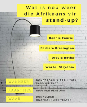 Wat is nou weer die Afrikaans vir stand-up?