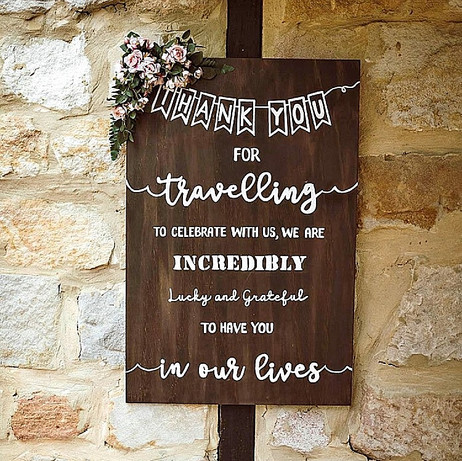 Timber Hand Painted Thank You Sign