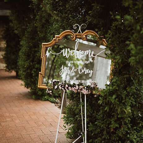 Antique Gold Mirror Welcome Sign