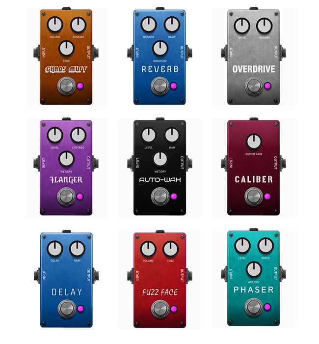 Colorful Guitar Effects Pedals